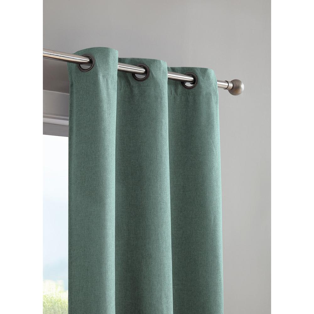 Henley Faux Linen Room Darkening 76 in. x 96 in. Grommet Curtain Panel Pair in Grey Teal