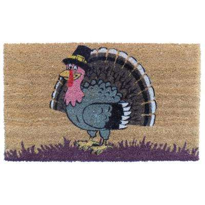 PVC Backed Coir Mat, Turkey, 30 in. x 18 in. Natural Coconut Husk Doormat