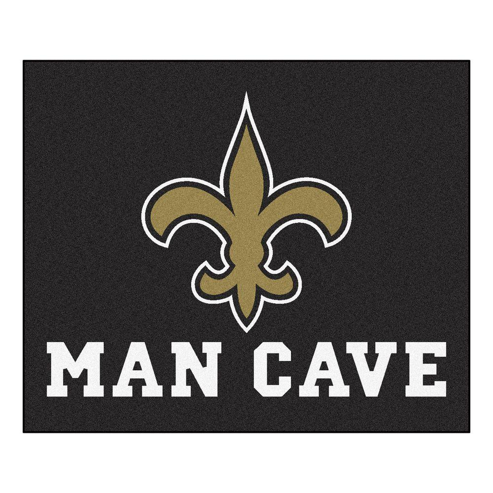 Fanmats New Orleans Saints Black Man Cave 5 Ft X 6 Ft