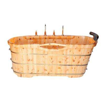 61 in. Cedar Flatbottom Bathtub in Natural Wood