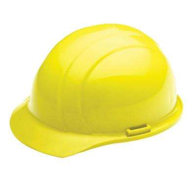 4 Point Nylon Suspension Mega Ratchet Cap Hard Hat in Yellow