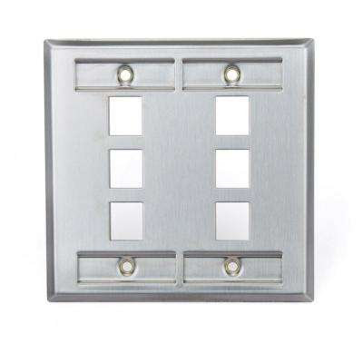 2-Gang QuickPort Standard Size 6-Port Wallplate with ID Windows, Stainless Steel