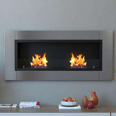 Valencia 43 in. Recessed Wall Mounted Ethanol Fireplace in Stainless Steel