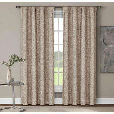 Semi-Opaque Leila Printed Cotton Extra Wide 84 in. L Rod Pocket Curtain Panel Pair, Linen (Set of 2)