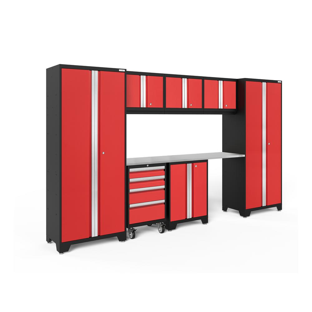 NewAge Products Bold Series 3.0 132 in. W x 77.25 in. H x 18 in. D 24-Gauge Steel Garage Cabinet Set in Red (8-Piece)
