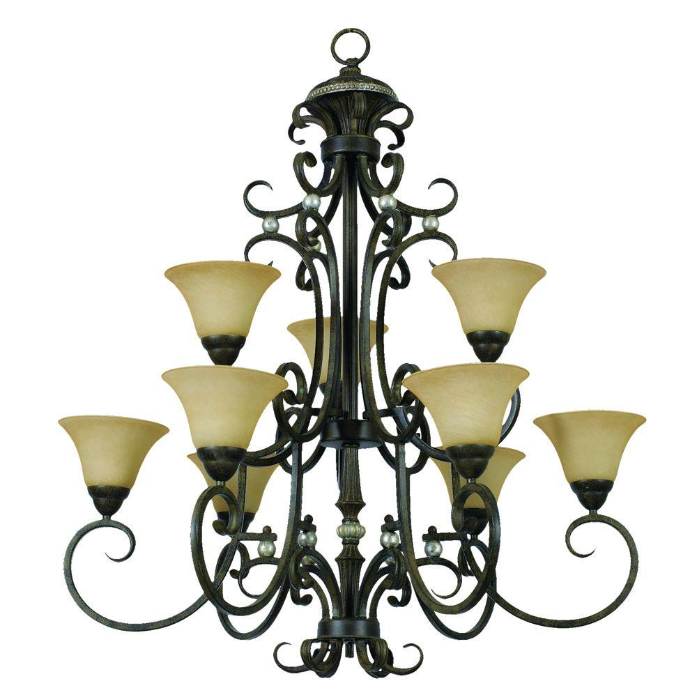 Yosemite Home Decor Mariposa Collection 9-Light Tuscan Sand Frame Fluorescent Chandelier with Turismo Shades