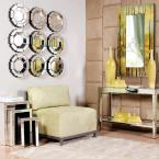 Small Round Mirrored Beveled Glass Contemporary Mirror (14 in. H x 14 in. W)