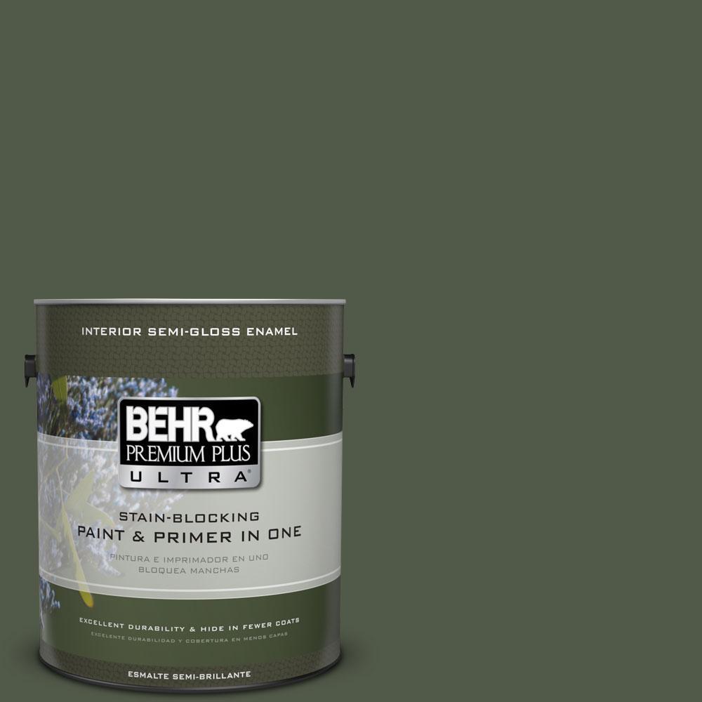1-gal. #430F-7 Windsor Moss Semi-Gloss Enamel Interior Paint