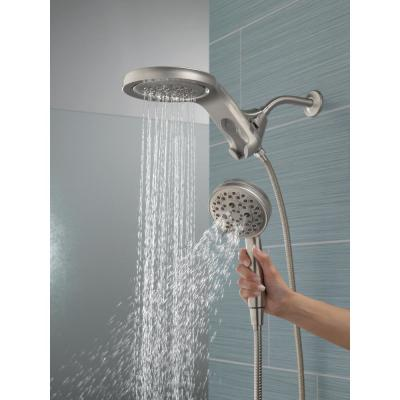 HydroRain Two-in-One 5-Spray 6 in. Dual Wall Mount Fixed and Handheld H2Okinetic Shower Head in Stainless