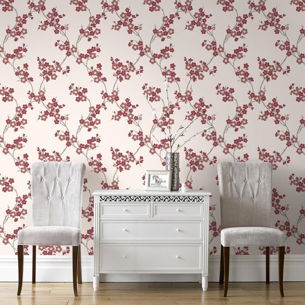 Graham & Brown Scarlet Cherry Blossom Wallpaper
