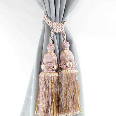 Handcrafted 27 in. L Dual Tassel Knit Curtain Tieback in Dusty Pink (2-Pack)