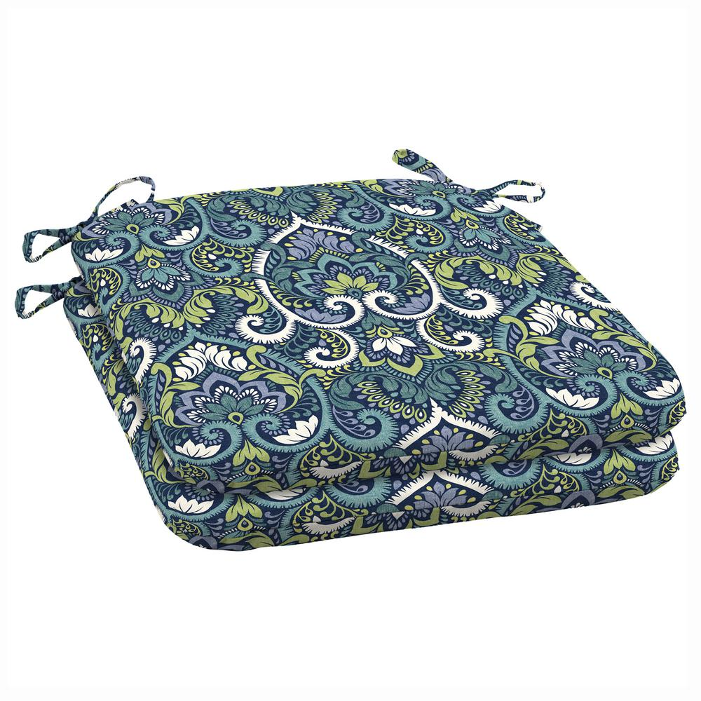 ArdenSelections Arden Selections 19 x 18 Sapphire Aurora Damask Outdoor Seat Cushion (2-Pack)