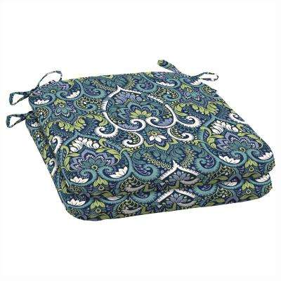Sapphire Aurora Damask Outdoor Seat Cushion (Pack Of 2)
