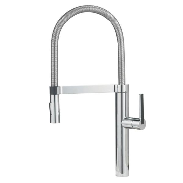 Blanco Culina Semi Pro Single Handle Pull Down Sprayer Kitchen Faucet In Polished Chrome 441405 The Home Depot