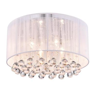 Belle 4-Light White Thread and Chrome Flush Mount with Hanging Crystals