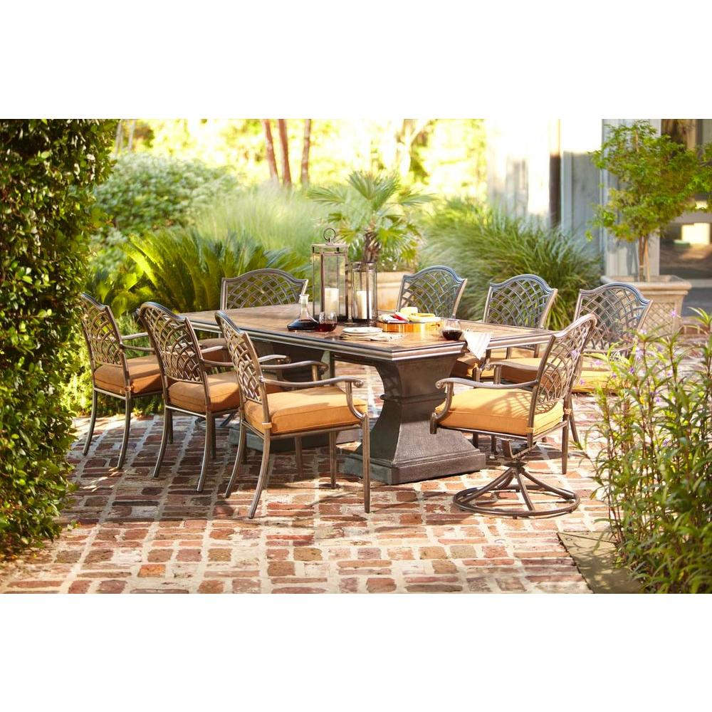 Hampton Bay Shelbyville 9-Piece Patio Dining Set with Spiced Brown Cushions-DISCONTINUED