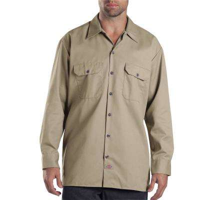 Men's X-Large Khaki Long Sleeve Work Shirt