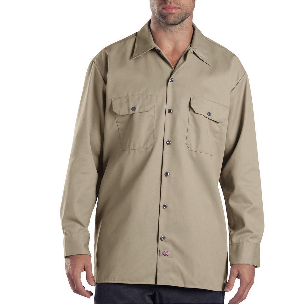 d9275abffa7 Dickies Men s 3X-Large Khaki Long Sleeve Work Shirt-574KH - The Home Depot