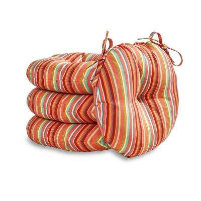 Watermelon Stripe 18 in. Round Outdoor Seat Cushion (4-Pack)