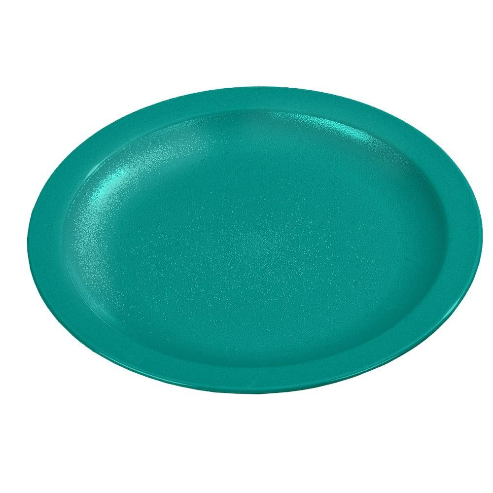 9.0 in. Diameter Polycarbonate Narrow Rim Commercial Dinnerware Plate in Teal