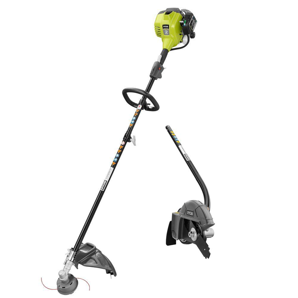 Ryobi 2-Cycle 25cc Gas Full Crank Straight Shaft String Trimmer with Edger  Attachment