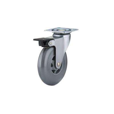 3-15/16 in. Grey Swivel with Brake Plate Caster, 132 lb. Load Rating