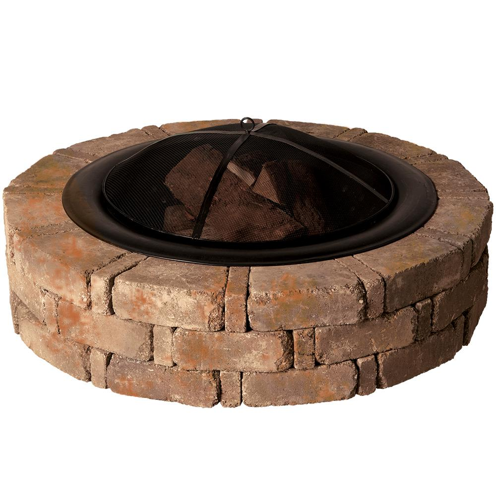 Pavestone RumbleStone 46 in. x 10.5 in. Round Concrete Fire Pit Kit No. 1 in. Sierra Blend