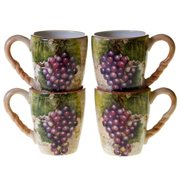 Certified International Sanctuary Wine 18 oz. Mug (Set of 4) 25377SET/4