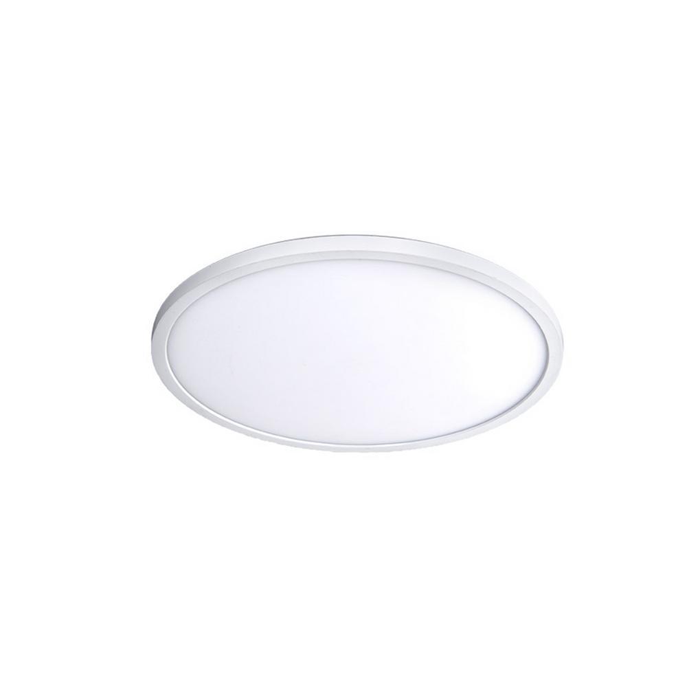 Round 11 in. 1-Light White LED Flush Mount