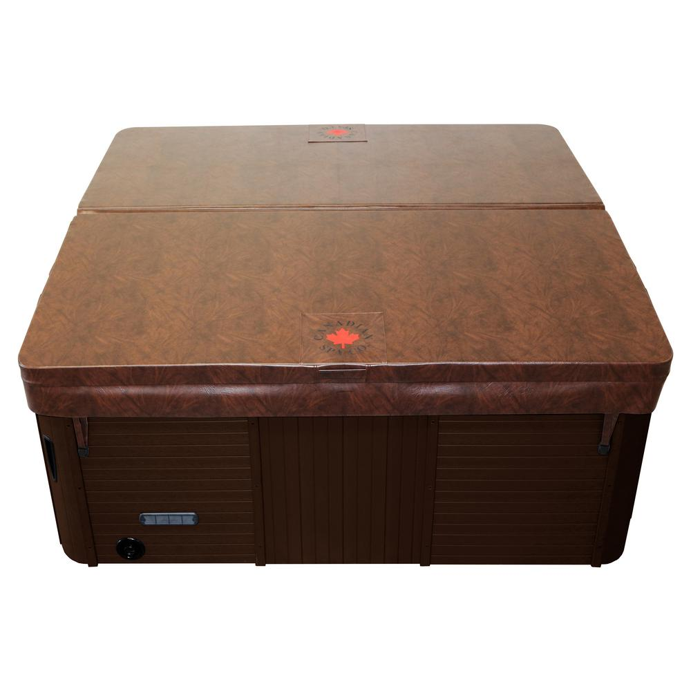 Canadian Spa Company 89 in. x 79 in. Rectangular Hot Tub Cover with 5 in./3 in. Taper - Chestnut