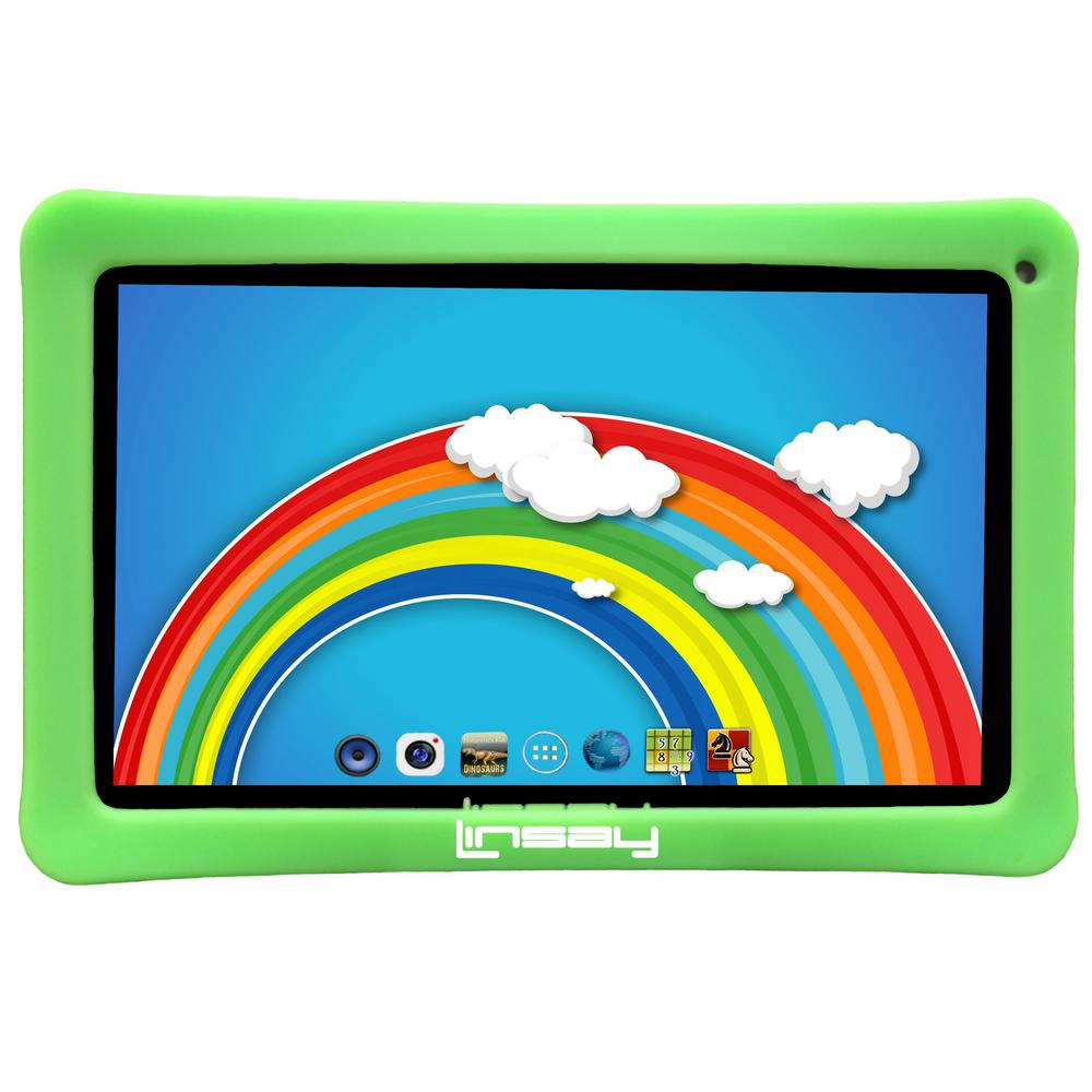 LINSAY 10.1 in. 2GB RAM 16GB Android 9.0 Pie Quad Core Tablet with Green Kids Defender Case was $159.99 now $79.99 (50.0% off)