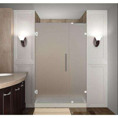 Nautis 36 in. x 72 in. Completely Frameless Hinged Shower Door with Frosted Glass in Chrome