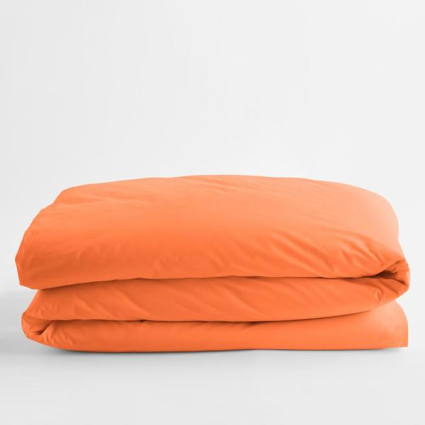 Classic Tangerine Solid Cotton Percale Twin XL Duvet Cover