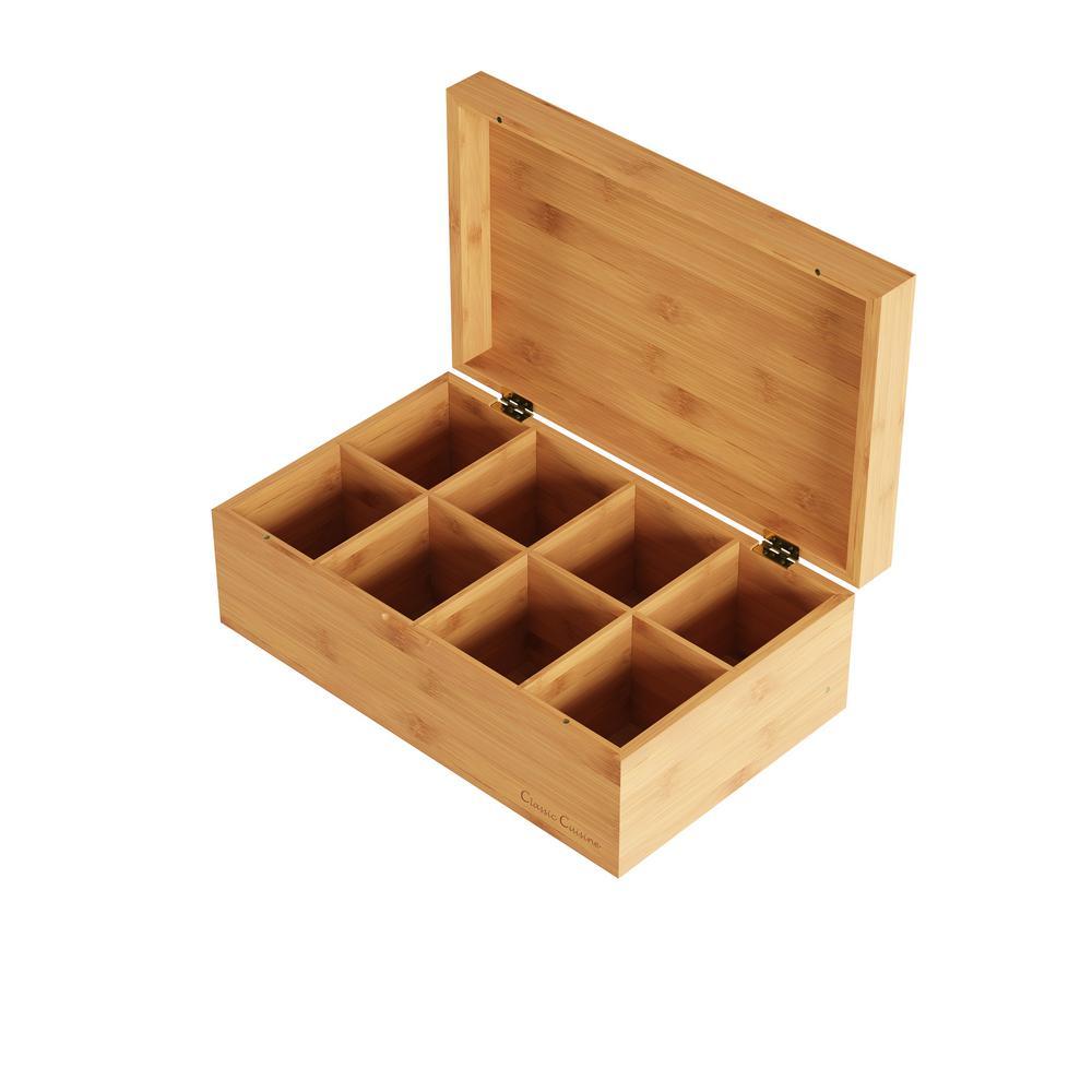 8-Compartment Bamboo Tea Box Storage Organizer