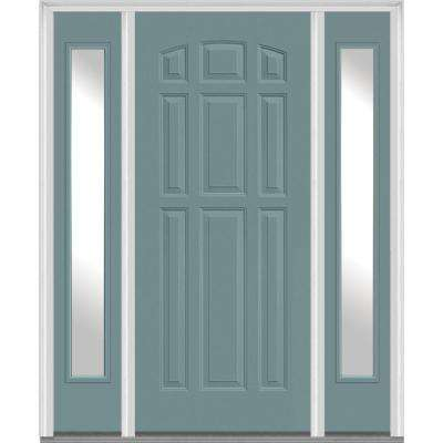 Single Door With Sidelites Blue 9 Panel Front Doors Exterior