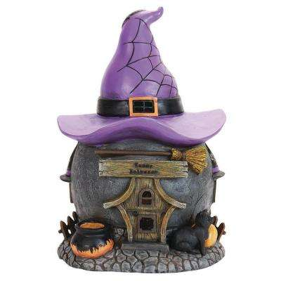 12 in. Battery Powered Witch Hat Cottage with Timer