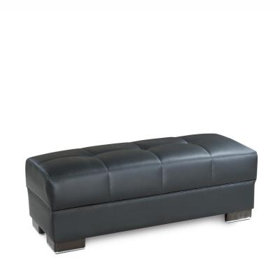 Downtown Black Leatherette Uphostery Modern Ottoman