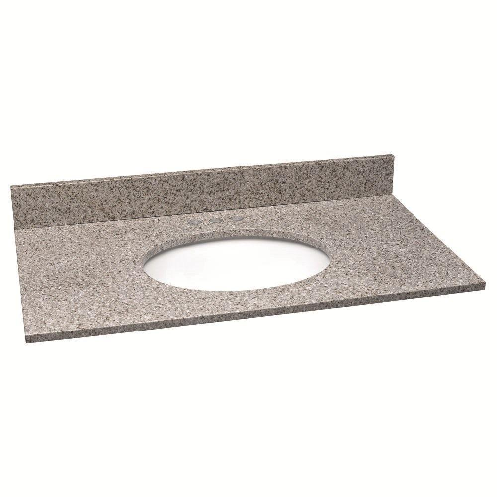 37 in. W Granite Vanity Top in Golden Sand with White