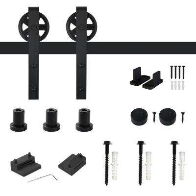 4 ft. /48 in. Frosted Black Sliding Barn Door Track and Hardware Kit for Single with Non-Routed Floor Guide