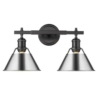 Orwell 4.875 in. 2-Light Black Vanity Light with Chrome Shade