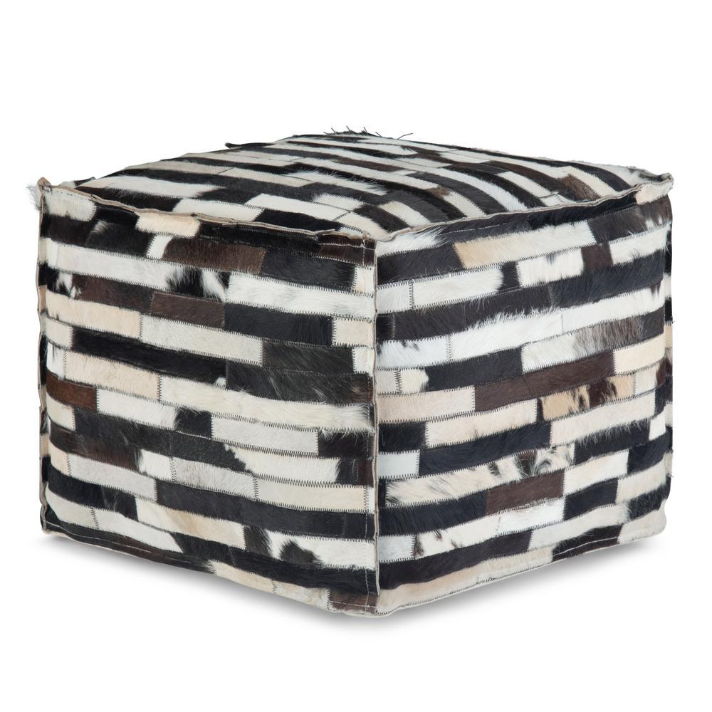 Peachy Dempsey Transitional Multi Black Leather Square Pouf Machost Co Dining Chair Design Ideas Machostcouk
