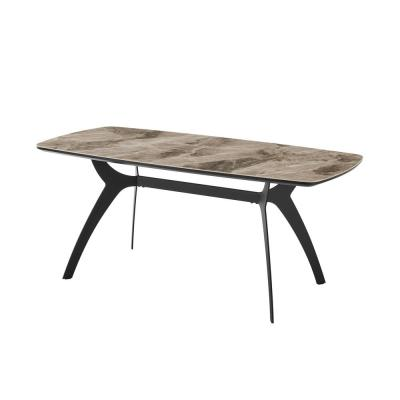 Andes 35 in. Grey/Black Ceramic and Metal Rectangular Dining Room Table