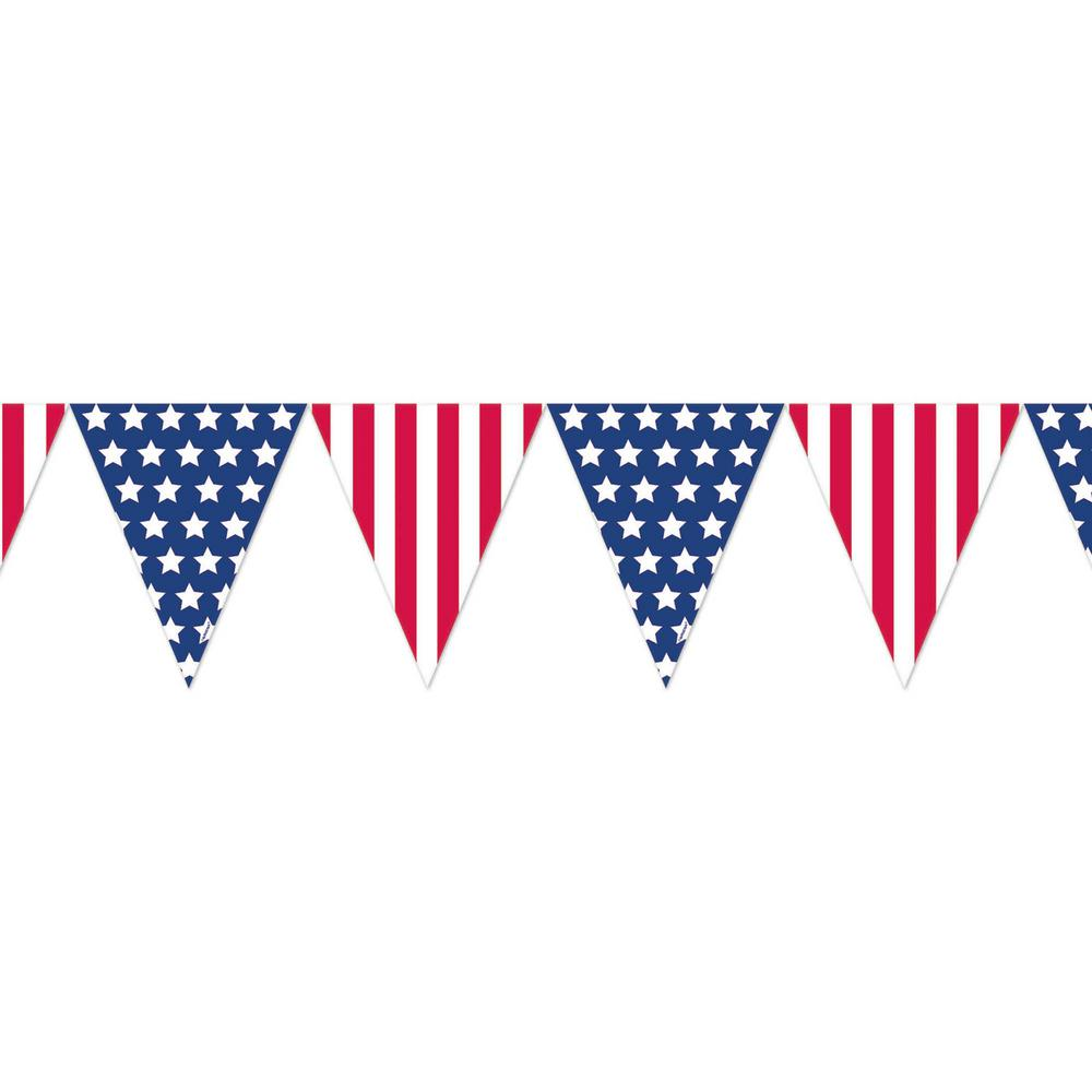 Amscan 10.5 in. x 12 ft. Plastic Pennant Banner (8-Pack)