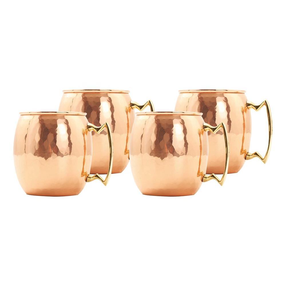 Old Dutch 24 oz. Solid Copper Hammered Moscow Mule Mug (Set of 4)