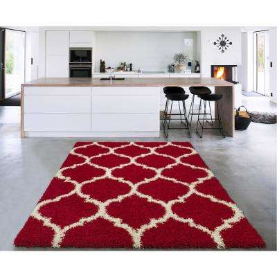 Cozy Shag Collection Red/Cream Moroccan Trellis Design 5 ft. x 7 ft. Contemporary Shag Area Rug