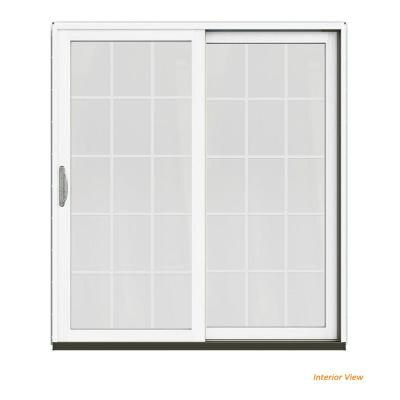 72 in. x 80 in. W-2500 Contemporary Brown Clad Wood Right-Hand 15 Lite Sliding Patio Door w/White Paint Interior