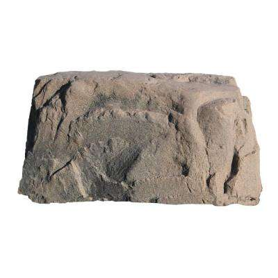 40 in. L x 24 in. W x 21 in. H Medium Plastic Rock, Brown Granite