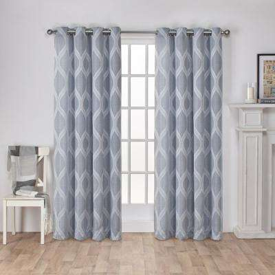 Montrose 54 in. W x 84 in. L Jacquard Grommet Top Curtain Panel in Steel Blue (2 Panels)