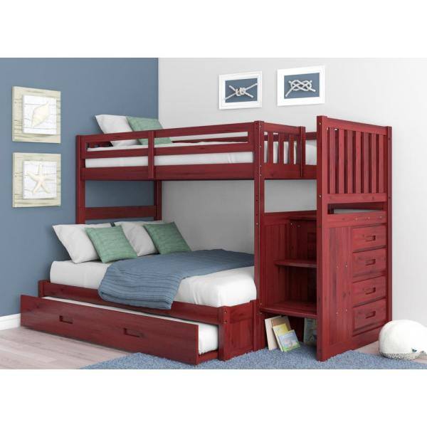 Merlot Twin over Full Solid Pine Staircase Bunkbed with 4-Drawer Chest and Twin Trundle
