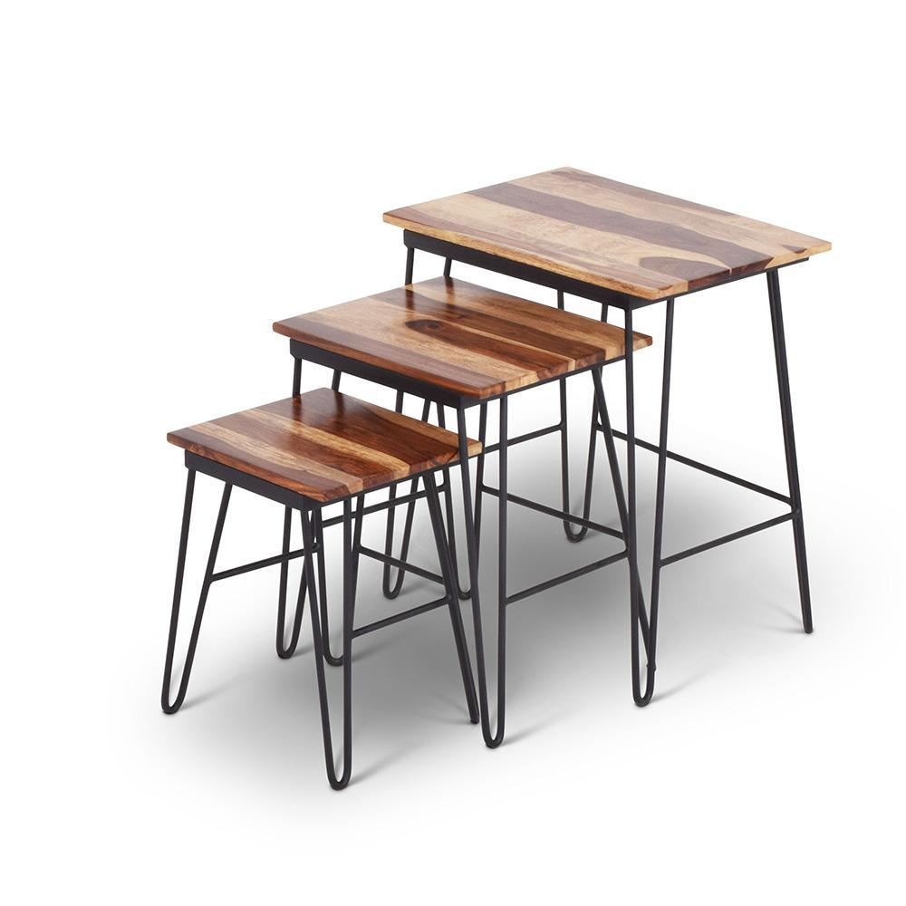 Tristan Sheesham Wood and Iron Base Nesting Tables (Set of 3)